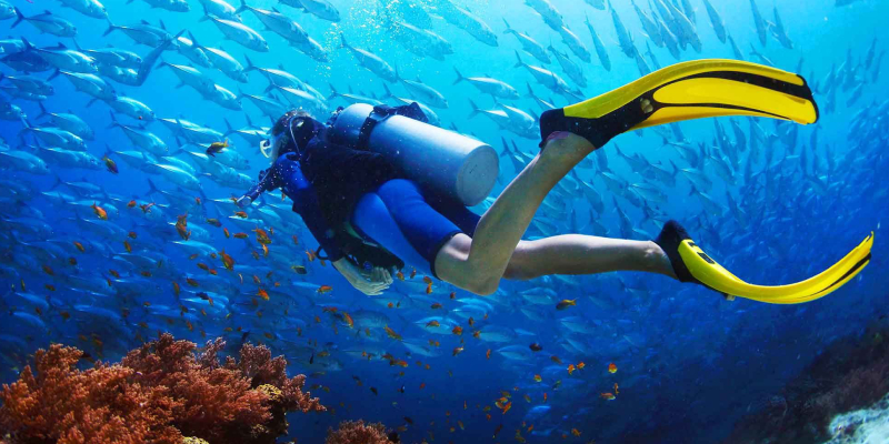An Image Of A Female Scuba Diver In A Deep Sea Background.