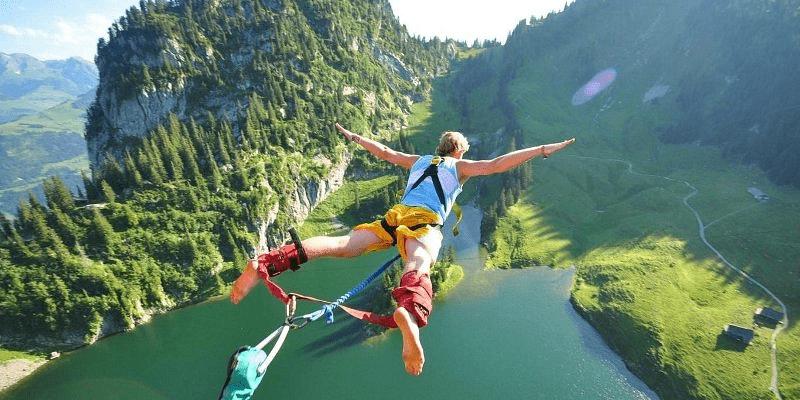 A Skydiver Flies Through The Air.